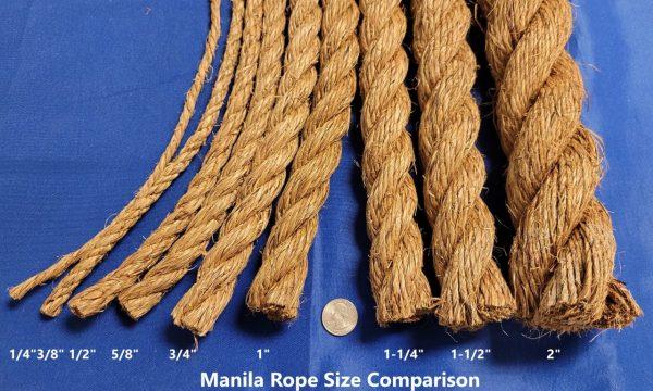 Manila Rope Size Comparison